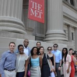a group in front of the Met